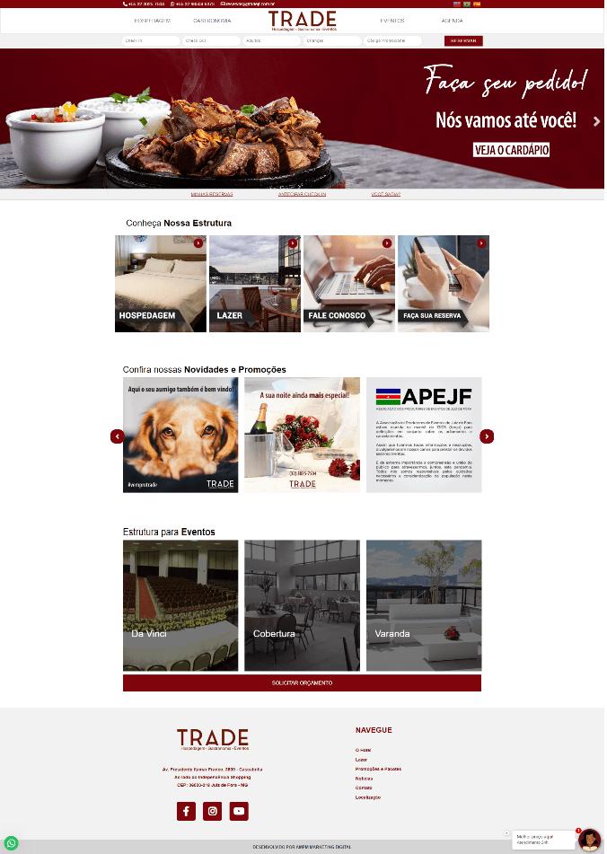 site trade hotel juiz de fora criado pela ampm marketing digital